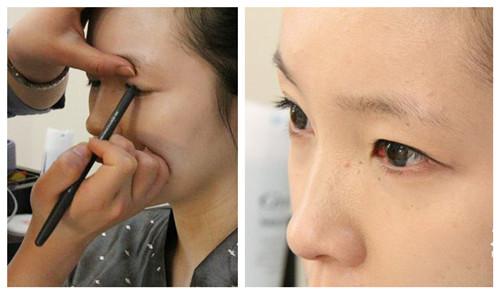 眼线:化妆师只用了眼线笔帮我画,化的挺粗的.