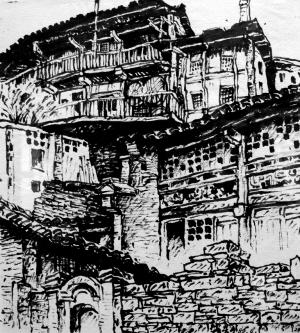赵贵元速写作品中的古镇老屋,有些已经被拆除了.