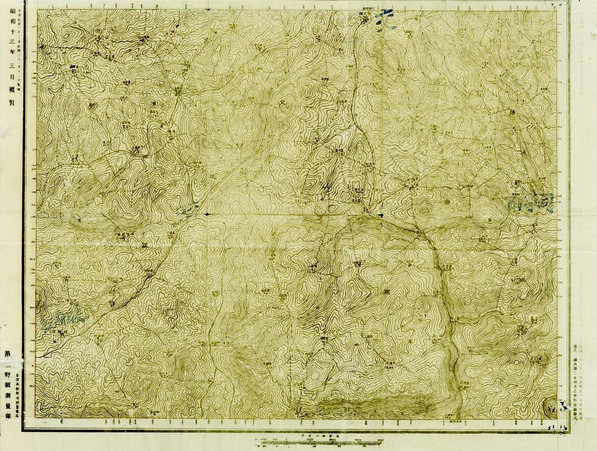 """1919年的古交镇地图,正面上方写""""古交镇"""",左上角标示为""""中华民国八"""