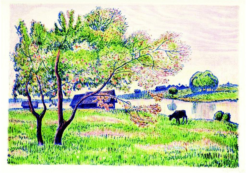 彩色手绘风景写生