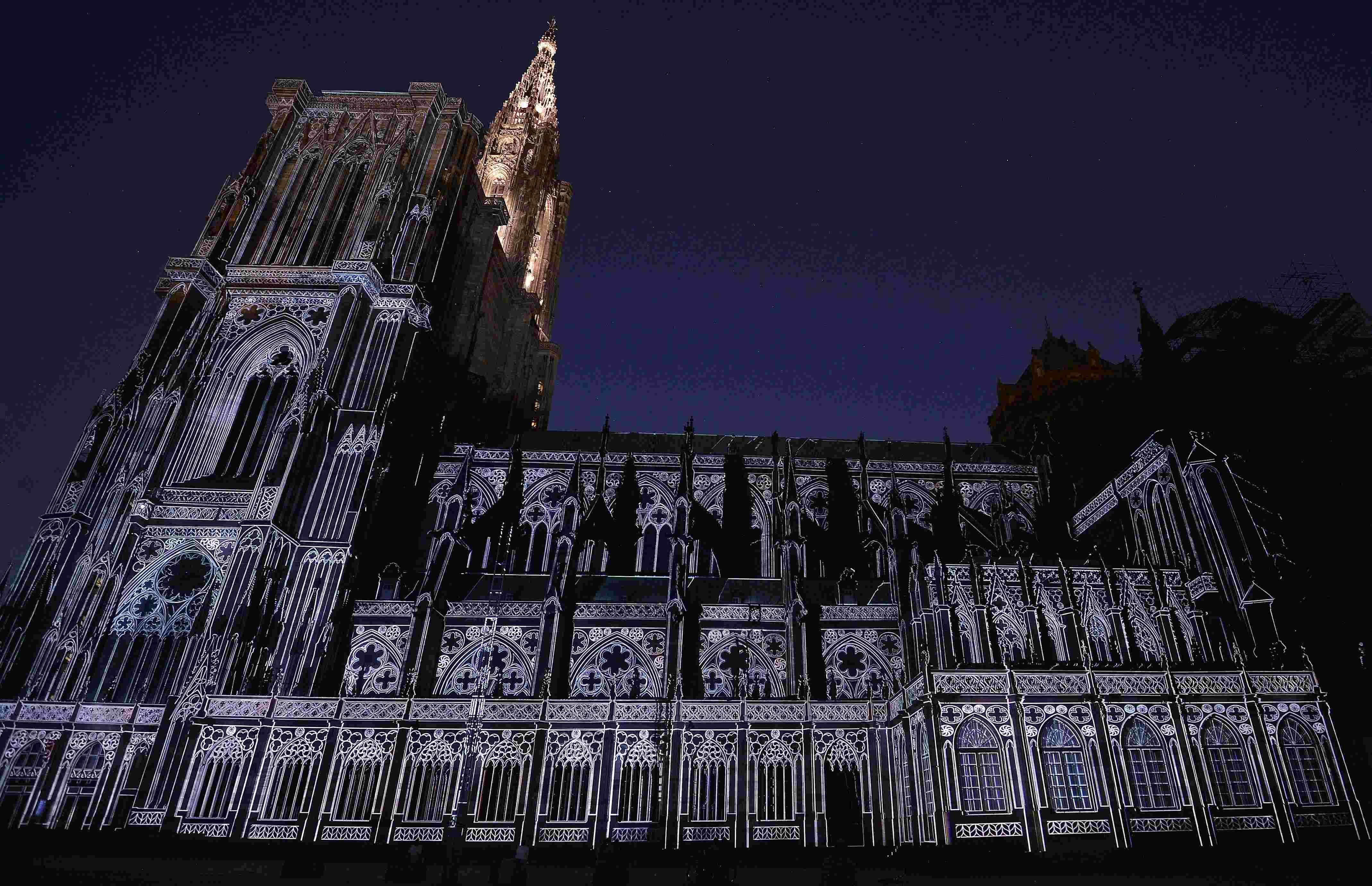 锐视角 1 斯特拉斯堡大教堂灯光秀庆千岁生日 高清图片
