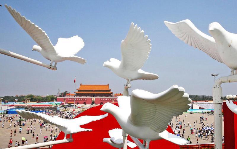 """天安门广场""""和平鸽""""飞翔"""